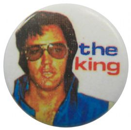 Elvis Presley - 'The King White' Button Badge